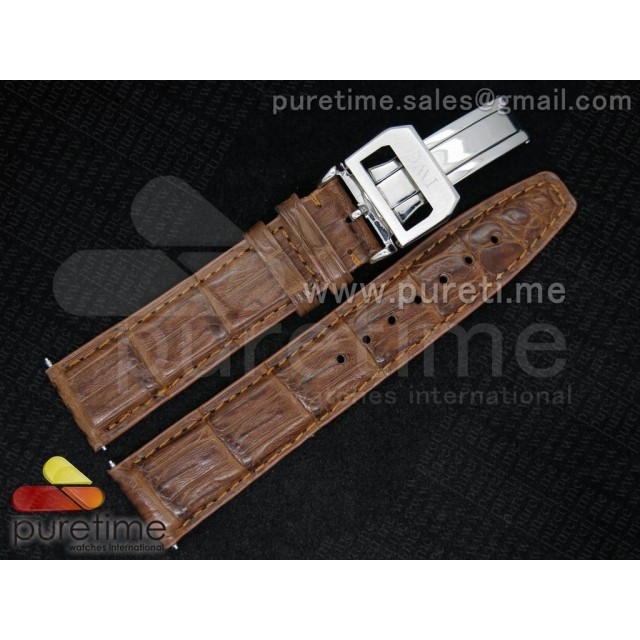 Cheap Discount Replica IWC 18/20 Brown Genuine Caiman Crocodile Leather Strap with Deployant Clasp