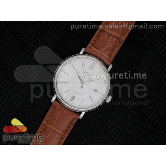 Cheap Discount Replica Portofino SS White Dial on Brown Leather Strap MIYOTA 9015