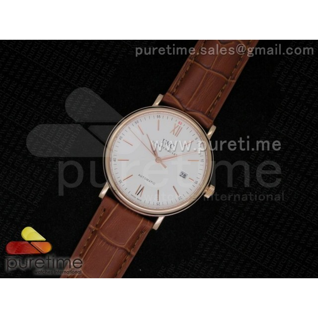 Cheap Discount Replica Portofino RG White Dial on Brown Leather Strap MIYOTA 9015