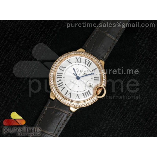 Cheap Discount Replica Ballon Bleu 42mm RG White Dial Diamonds Bezel on Brown Leather Strap ETA2892