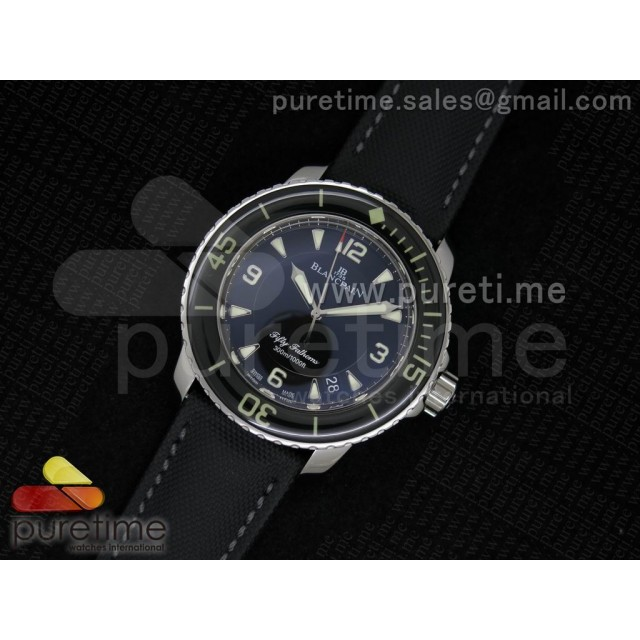 Cheap Discount Replica Fifty Fathoms 1:1 Noob Best Edition SS Black Dial on Sail-canvas Strap A2836