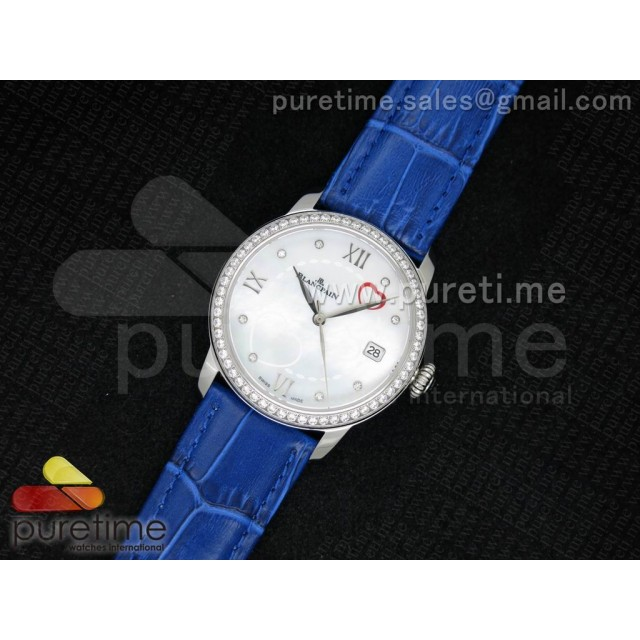 Cheap Discount Replica Ultra-plate Lady SS White MOP with Hearts Dial on Blue Leather Strap Jap Quartz