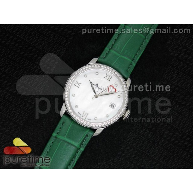Cheap Discount Replica Ultra-plate Lady SS White MOP with Hearts Dial on Green Leather Strap Jap Quartz