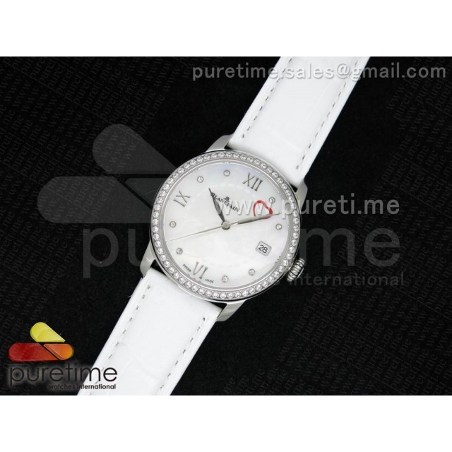 Cheap Discount Replica Ultra-plate Lady SS White MOP with Hearts Dial on White Leather Strap Jap Quartz