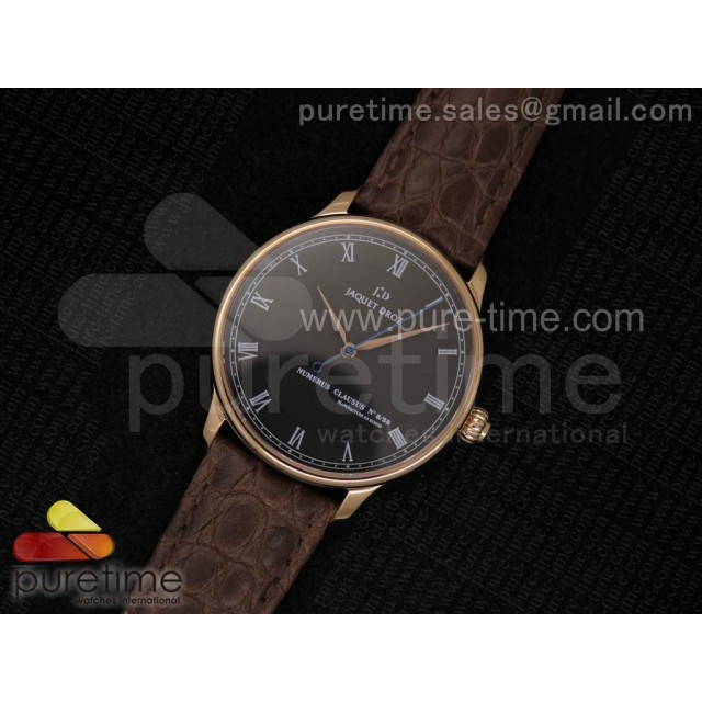 Cheap Discount Replica Numerus Clausus 8/88 RG Black Dial on Brown Leather Strap MIYOTA 9015