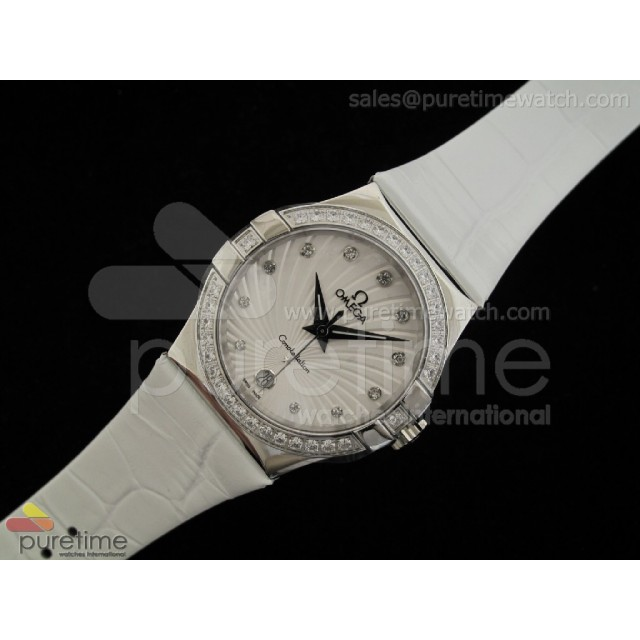 Cheap Discount Replica Constellation Quartz 35mm Diamonds White
