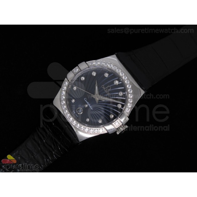 Cheap Discount Replica Constellation Quartz 35mm SS Blue Diamonds Bezel on Black Leather Strap