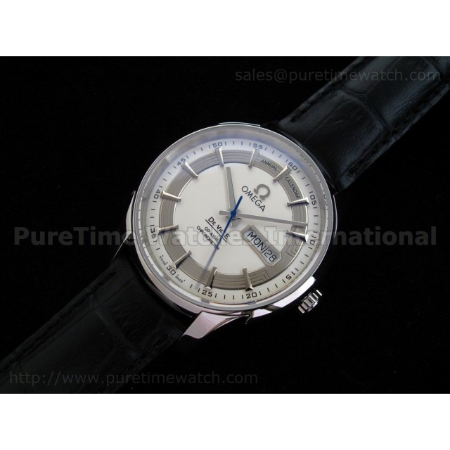 Cheap Discount Replica Hour Vision Annual Calender SS White Dial on Black Leather Strap