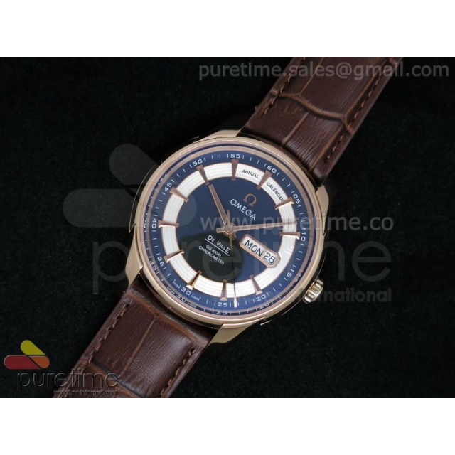 Cheap Discount Replica De Ville Hour Vision Annual Calendar RG Black Dial on Brown Leather Strap A2824