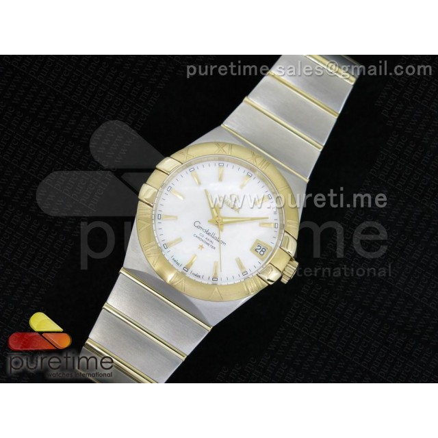 Cheap Discount Replica Constellation 38mm SS White MOP Dial YG Bezel on SS/YG Bracelet ETA-2824
