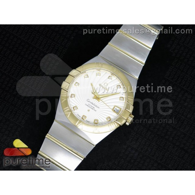 Cheap Discount Replica Constellation 38mm SS White Textured Dial YG Bezel on SS/YG Bracelet ETA-2824