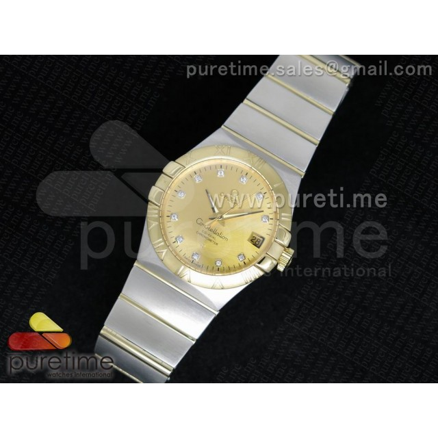 Cheap Discount Replica Constellation 35mm SS YG Dial Diamonds Markers YG Bezel on SS/YG Bracelet A23J