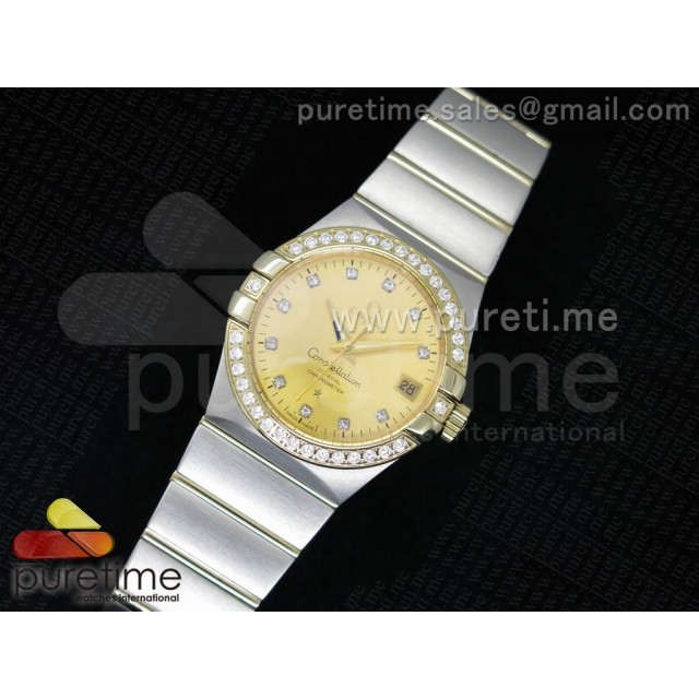 Cheap Discount Replica Constellation 35mm SS YG Dial Diamonds Bezel on SS/YG Bracelet A23J
