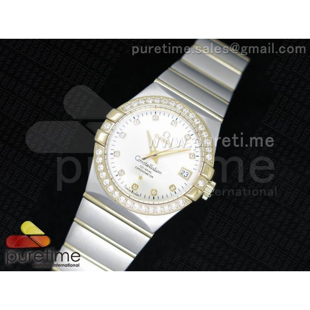 Cheap Discount Replica Constellation 35mm SS White Dial Diamonds Bezel on SS/YG Bracelet A23J