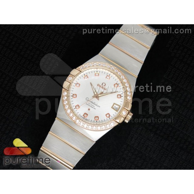Cheap Discount Replica Constellation 38mm SS White Dial Diamonds Bezel on SS/RG Bracelet ETA-2824