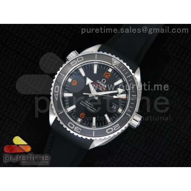 Cheap Discount Replica Planet Ocean Professional Ceramic/Orange Bezel 45mm 1:1 Noob Best Edition on Black Rubber Strap A2836