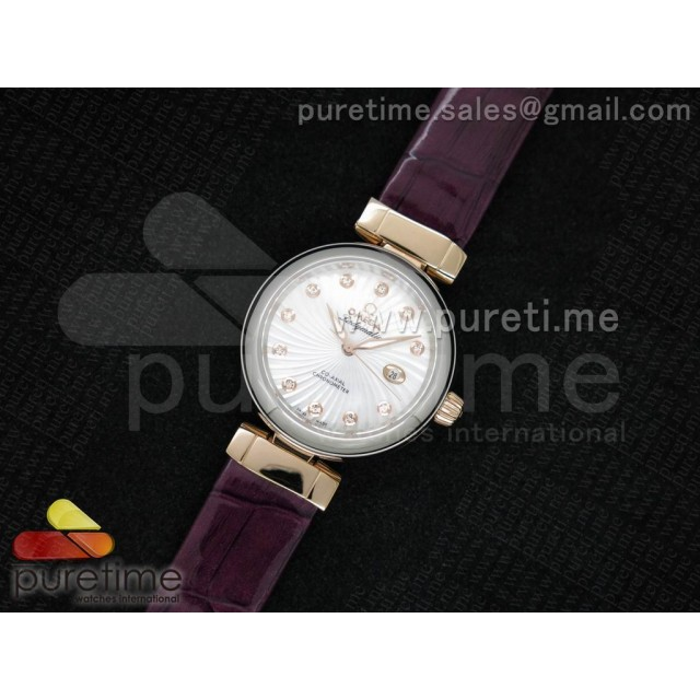 Cheap Discount Replica De Ville Lady SS White Textured Dial on Purple Leather Strap MIYOTA 9105
