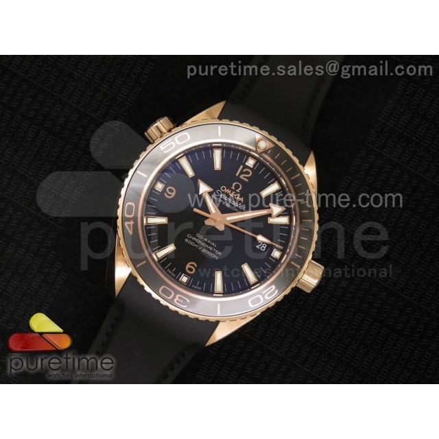 Cheap Discount Replica Planet Ocean Professional Rose Gold Liquid Metal V6F 45mm on Black Rubber Strap A8501