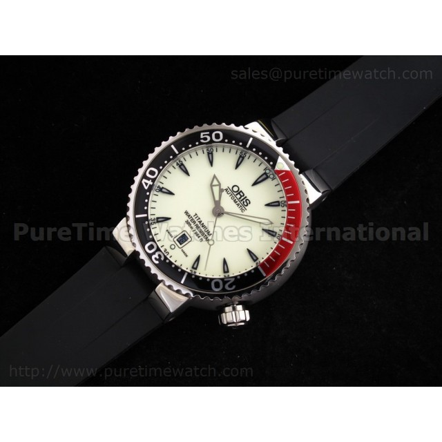 Cheap Discount Replica TT1 Divers Date SS White Dial on Rubber Strap