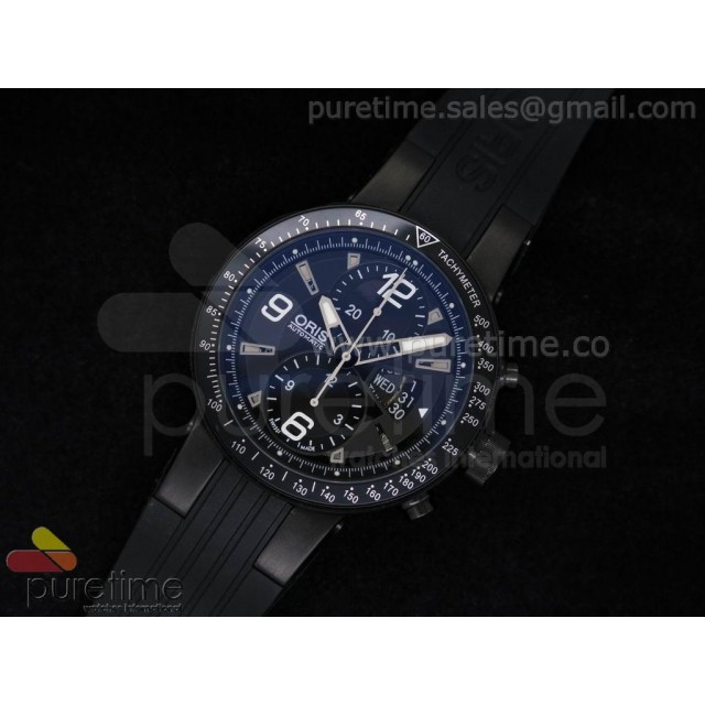Cheap Discount Replica Williams F1 Team Chronograph PVD Black Dial on Black Rubber Strap A7750