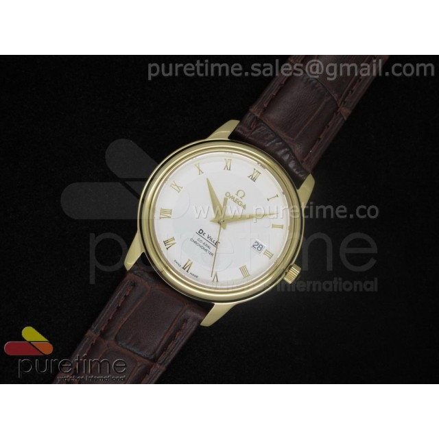 Cheap Discount Replica De Ville 38mm YG White Dial Roman Markers on Brown Leather Strap A2824