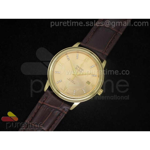 Cheap Discount Replica De Ville 38mm YG Gold Dial Roman & Diamond Markers on Brown Leather Strap A2824