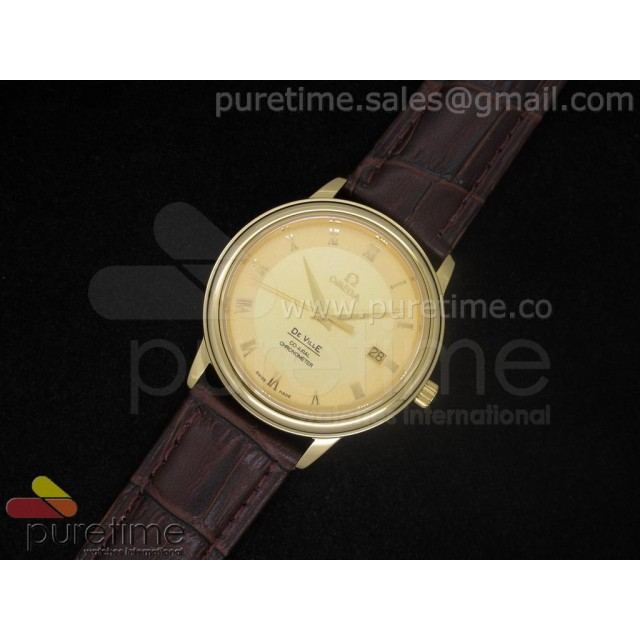 Cheap Discount Replica De Ville 38mm YG Gold Dial Roman Markers on Brown Leather Strap A2824