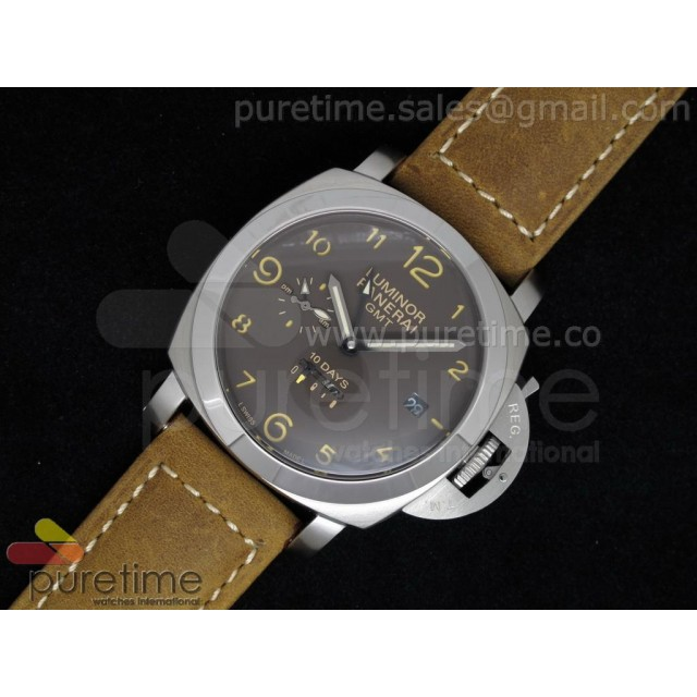 Cheap Discount Replica PAM402 1950 10 Days GMT Brown Dial on Brown Leather Strap