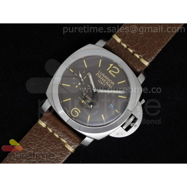 Cheap Discount Replica PAM402 1950 10 Days GMT Brown Dial on Custom Brown Leather Strap
