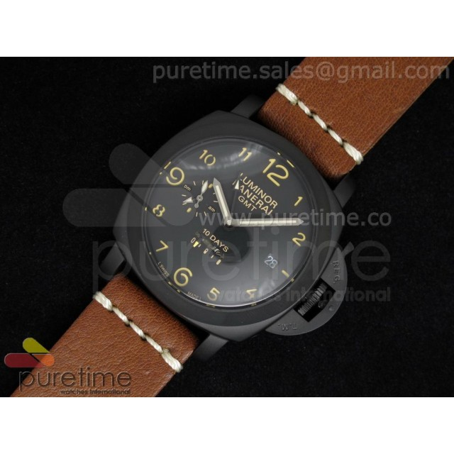 Cheap Discount Replica PAM402 1950 10 Days GMT PVD Black Dial on Custom Brown Leather Strap