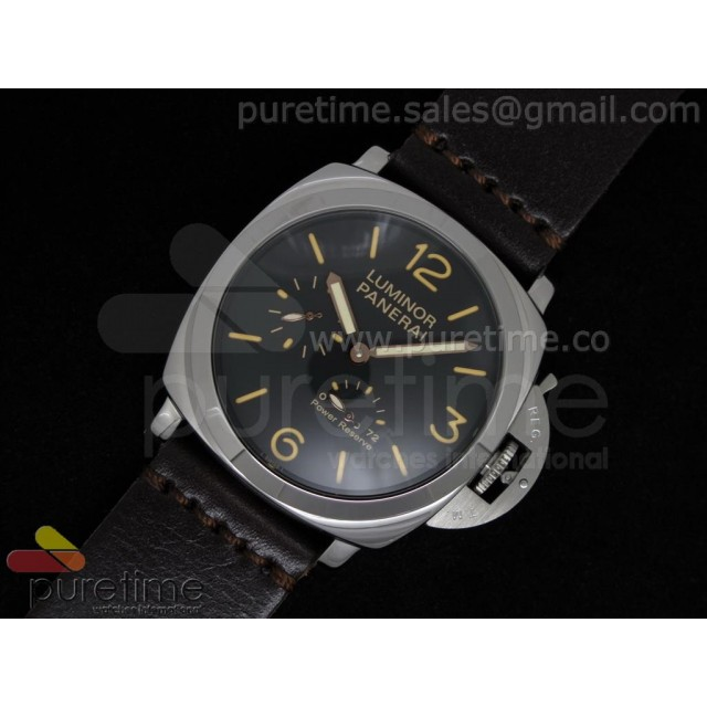 Cheap Discount Replica Luminor Power Reserve SS Black Dial on Dark Brown Custom Leather Strap