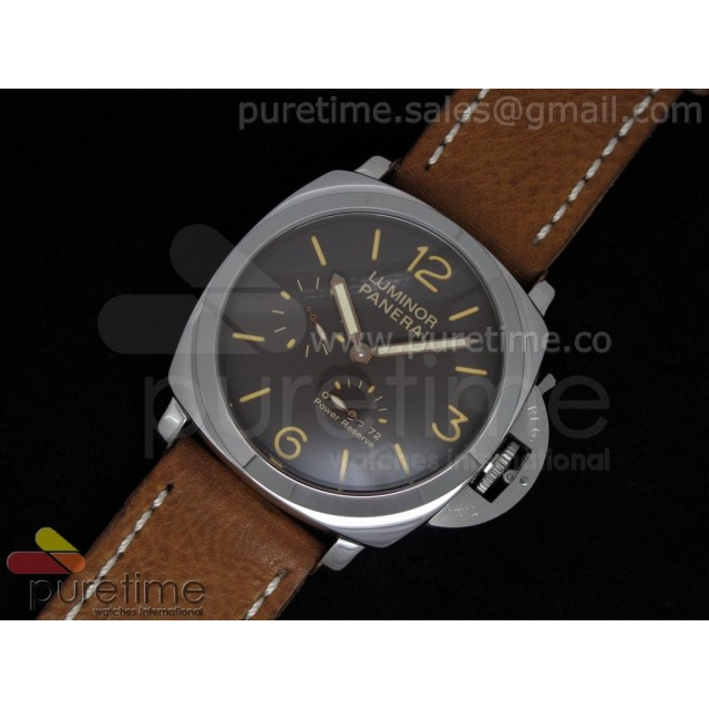 Cheap Discount Replica Luminor Power Reserve SS Brown Dial on Brown Leather Strap
