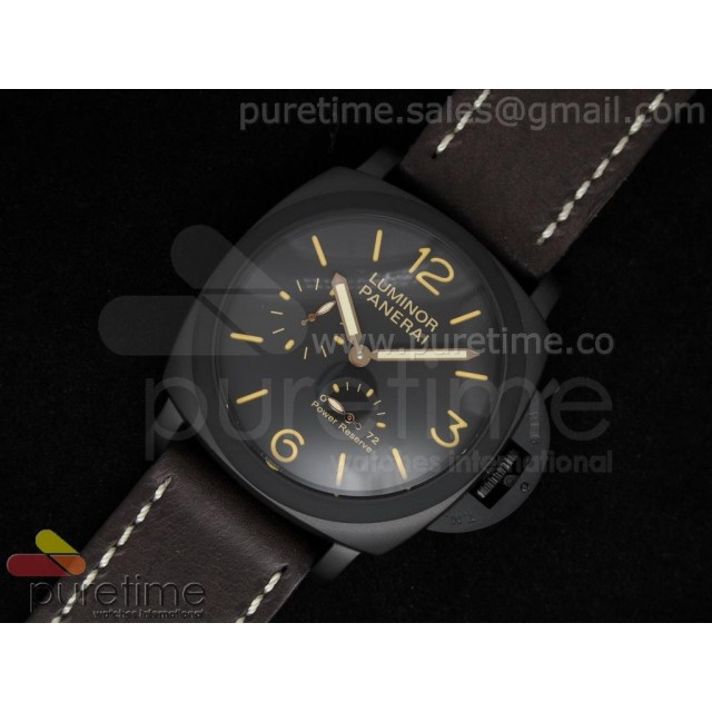 Cheap Discount Replica Luminor Power Reserve PVD Black Dial on Dark Brown Leather Strap