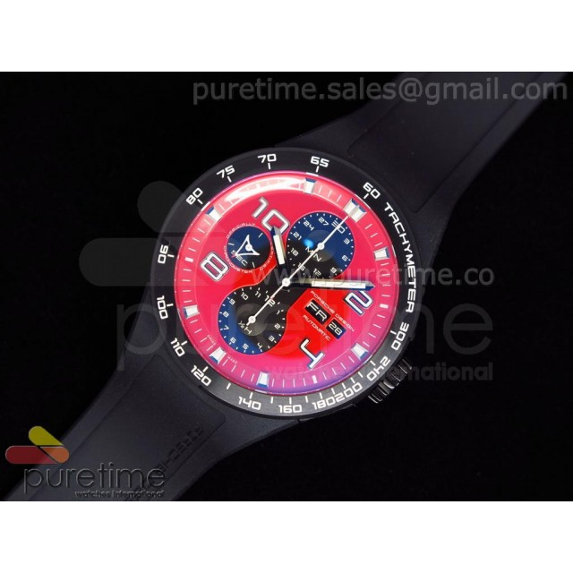 Cheap Discount Replica Flat Six P6340 Chronograph PVD Red Dial on Black Rubber Strap A7750