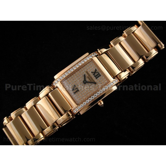 Cheap Discount Replica Twenty-4 Medium Rose Gold Diamond Dial and Diamond Bezel