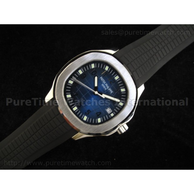 Cheap Discount Replica Aquanaut Jumbo Blue on Black Rubber Strap ETA2824