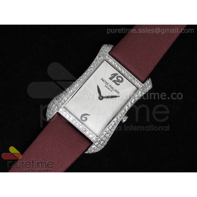 Cheap Discount Replica Gondolo Ladies SS White Dial Diamond Bezel on Red Nylon Strap Swiss Quartz