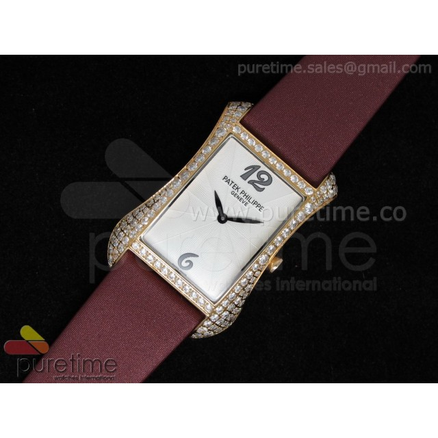Cheap Discount Replica Gondolo Ladies RG White Dial Diamond Bezel on Red Nylon Strap Swiss Quartz