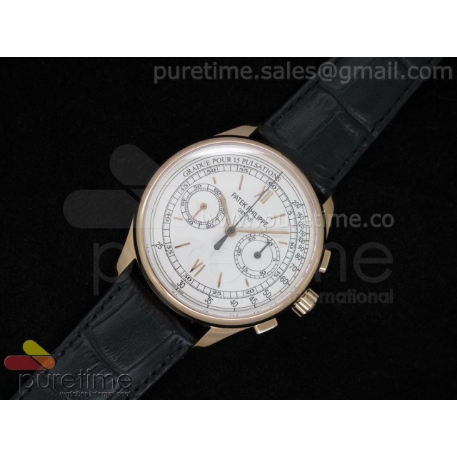 Cheap Discount Replica Chronographe 5170J RG White Dial on Black Leather Strap Venus Handwind