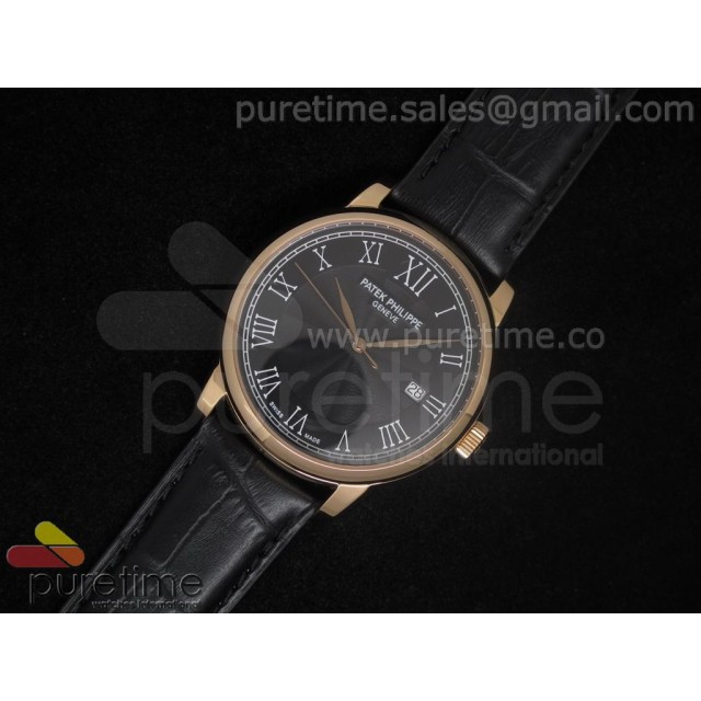 Cheap Discount Replica PP Calatrava RG Black Dial on Black Strap A2824