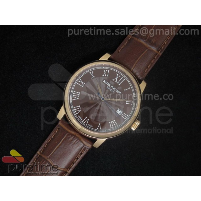 Cheap Discount Replica PP Calatrava RG Brown Dial on Brown Strap A2824