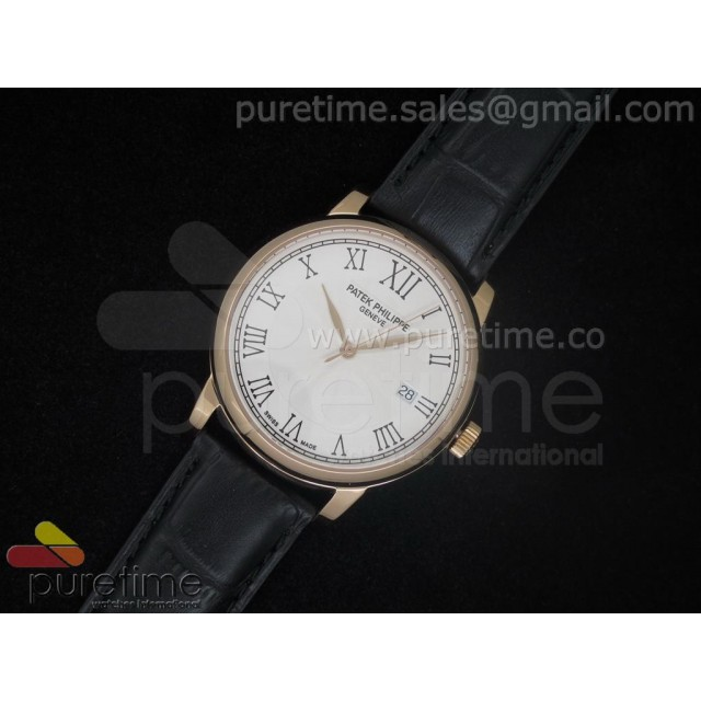 Cheap Discount Replica PP Calatrava RG White Dial on Black Strap A2824