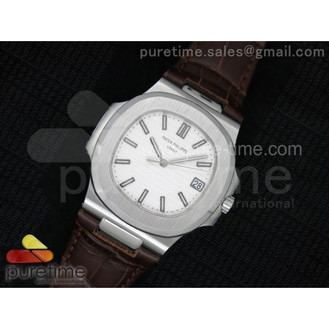 Cheap Discount Replica Nautilus 40mm SS White Dial on Brown Leather Strap MIYOTA9015