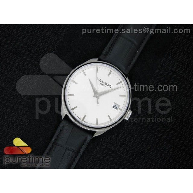 Cheap Discount Replica Calatrava 5227 SS White Dial on Black Leather Strap A2824