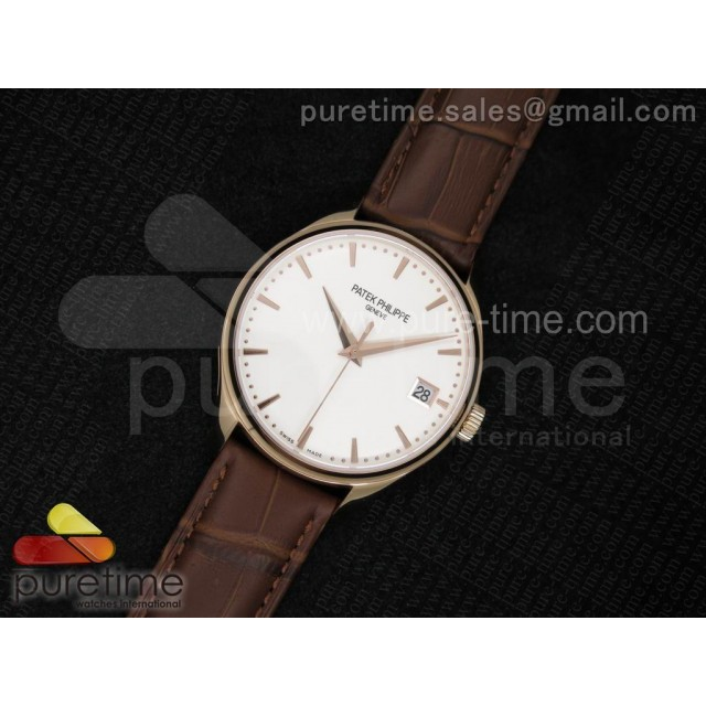 Cheap Discount Replica Calatrava 5227 RG White Dial on Brown Leather Strap A2824
