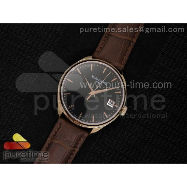 Cheap Discount Replica Calatrava 5227 RG Black Dial on Brown Leather Strap A2824
