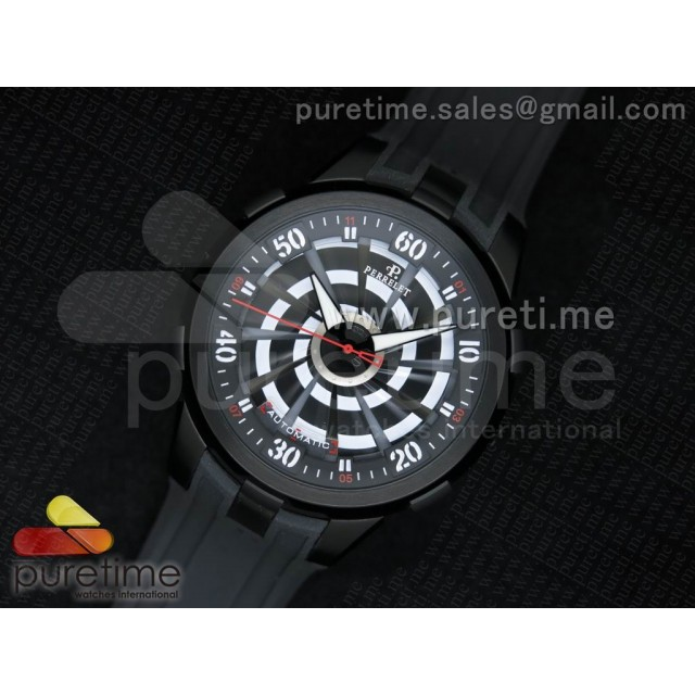 Cheap Discount Replica Turbine 44mm PVD Black/White Rotating Dial on Black Rubber Strap A23J