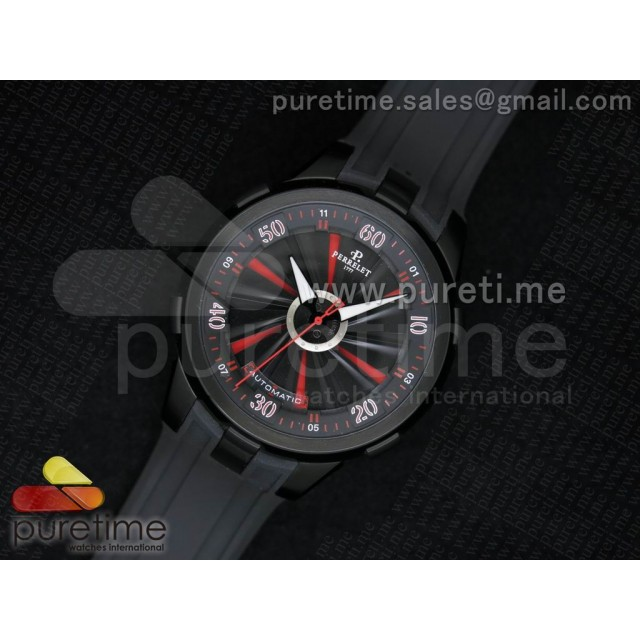 Cheap Discount Replica Turbine 44mm PVD Black/Red Rotating Dial on Black Rubber Strap A23J