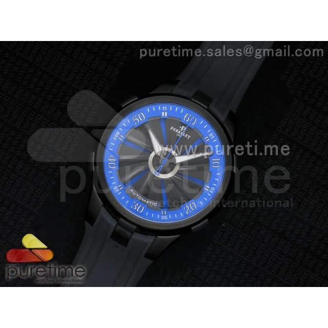 Cheap Discount Replica Turbine 44mm PVD Black/Blue Rotating Dial Blue Inner Bezel on Black Rubber Strap A23J