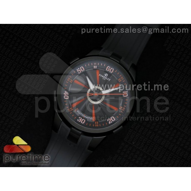 Cheap Discount Replica Turbine 44mm PVD Black/Orange Rotating Dial on Black Rubber Strap A23J